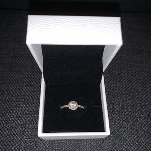Classic Sparkle Halo Ring